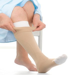 Toe Right Leg Beige Med (UlcerCare Zippered Unisex Open Toe Knee High Support Sock Size: Large, Leg: Right)