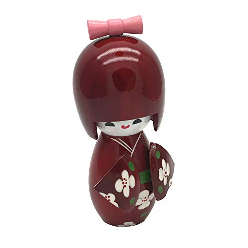 - XMHF Japan Kokeshi Doll, Flower Japanese Wooden Kimono Girl Doll Red