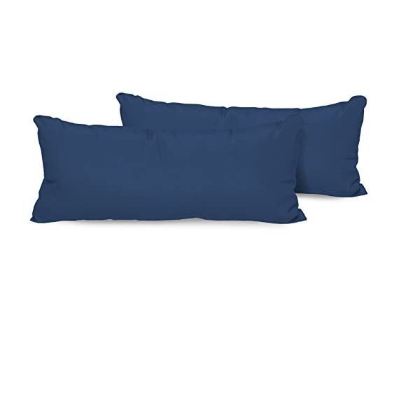 "TK Classics Set of 2 Outdoor Rectangle Throw Pillows, Navy - Luxury patio furniture Designed to create luxurious outdoor living environment 6"" x 11"" x 22"" - patio, outdoor-throw-pillows, outdoor-decor - 31SPICGorbL. SS570  -"
