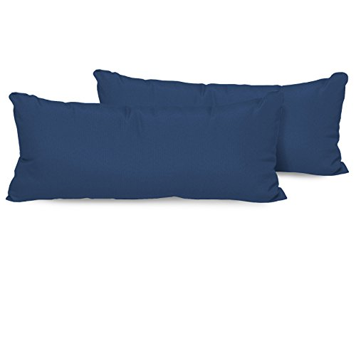 TK Classics Set of 2 Outdoor Rectangle Throw Pillows, Navy (Outdoor Furniture Imported)