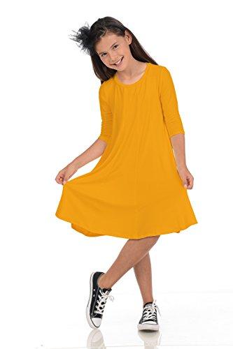 Honey Vanilla Girls' A-Line Trapeze Dress X-Large 11-12 Years Mustard