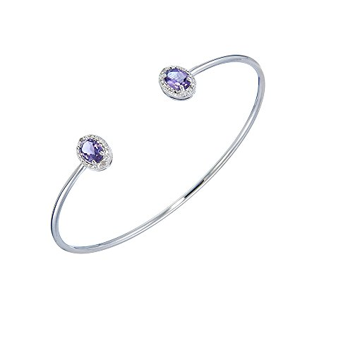 Vir Jewels 1 CT Oval Shape Amethyst and Diamond Cuff Bangle (Diamond Oval Bangle)