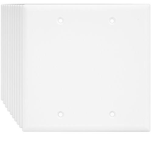 Enerlites 8802-W 2-Gang Blank Wall Plate, Standard Size, Unbreakable Polycarbonate, White - 10 Pack