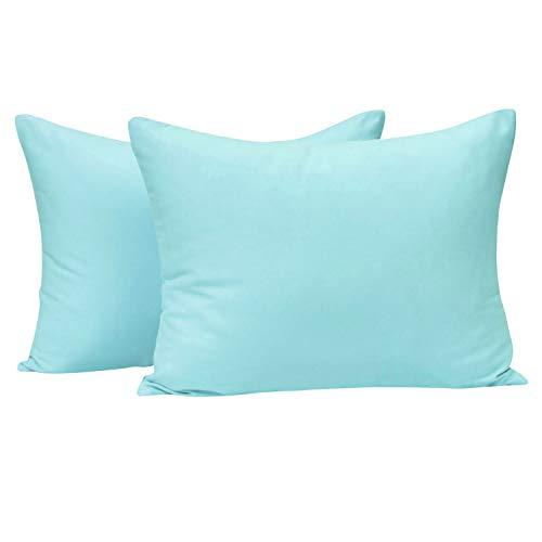NTBAY Toddler Pillowcases Set, 2 Pcs Zipper Closure Travel Pillow Covers, 100% Silky Soft Microfiber, 13 x 18, Aqua