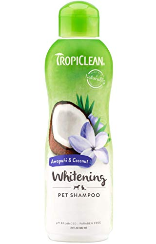 (TropiClean Awapuhi and Coconut Pet Shampoo, Whitening Shampoo for Whiter and Brighter Coats, Color Enhancing, 20 oz.)