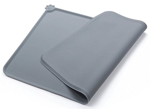CYT Pet Food Mat,Waterproof Non-Slip Pet Feeding Mat,FDA Grade Silicone Pet Bowl Mat,18.5″ x 11.8″, Grey by Cydnlive