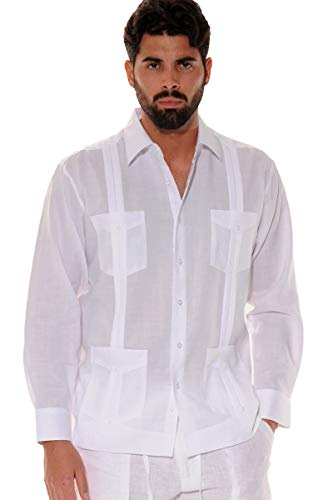 Men's Guayabera Linen Traditional 4-Pocket Long Sleeve Shirt ()