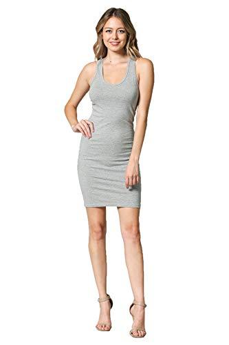 LaClef Women's Sleeveless Basic Racer Back Tank Midi Cotton Casual Dress (Grey Short, XL) - Grey T-shirts Short