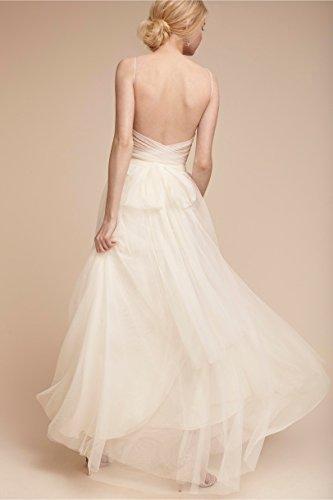 A Lila Tüll Kleid Abendkleid Rueckenfrei Linie für Mädchen Ausschnitt V Langes 1wHpq1