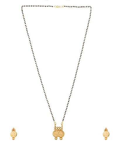 Voylla Single Chain Yellow Gold Tone Metal Mangalsutra Set For Women