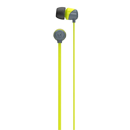 Skullcandy Jib In-Ear Noise-Isolating Earbuds, Lightweight, Stereo Sound and Enhanced Base, Wired 3.5mm Jack Connectivity, Gray/Hot Lime