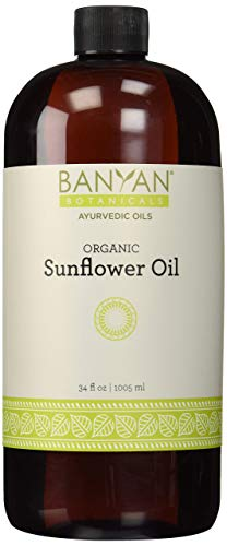 Banyan Botanicals Sunflower Oil - USDA Organic, 34 oz- Traditional Ayurvedic Oil for Massage, 100% Pure - Lightweight Carrier Oil
