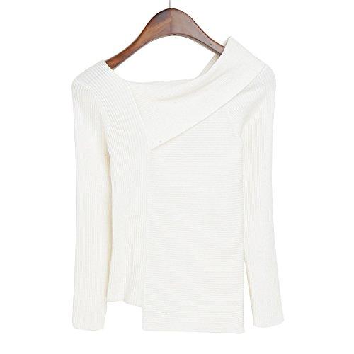 Hrph Fashion Autumn Winter Women Sweater Pullovers Slim Knitwear Turndown Long Sleeve Top Sweaters Blanco