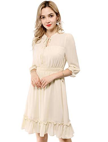 Allegra K Women's Ruffle Hem 3/4 Sleeve A-Line Smocked Short Chiffon Dress Beige S (US 6)
