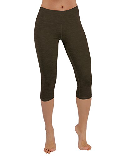 Capri Brown Apparel (ODODOS Power Flex Yoga Capris Pants Tummy Control Workout Running 4 way Stretch Yoga Capris Leggingss With Hidden Pocket,Olive,X-Large)