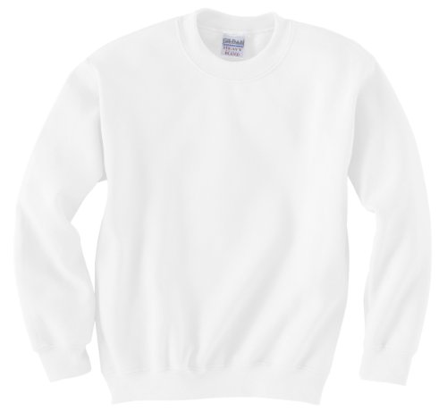 (Gildan Mens 7.75 oz. Heavy Blend? 50/50 Fleece Crew G180B -WHITE M)