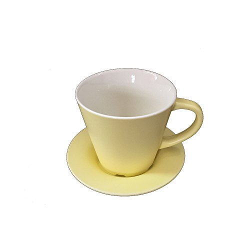 JAYYANG Jumbo Ceramic Soup/Coffee/ Mocha/Latte Cup / Ceramic Hot Beverage Drinkware Cups with Ceramic coaster for Wife mom sister girl friend YJB-yellow