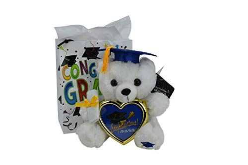 (Graduation Gift Teddy Bear Cap Diploma Holding Picture Frame with Congratulations Gift Bag (Blue Cap))