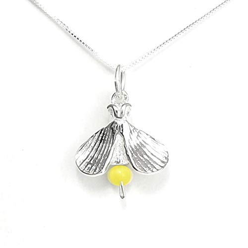 Firefly Lightning Bug Necklace Sterling Silver - Inspirational Story Card, Gift Boxed - USA Handcrafted - 18