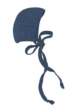 Engel 100% merino wool organic baby newborn hat bonnet (50/56, Blue melange)