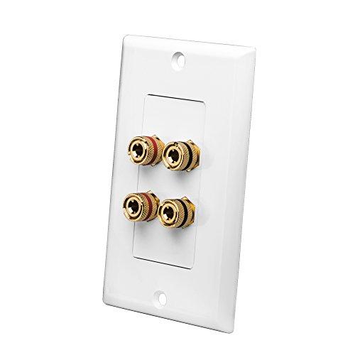 Mount Decora Wall Plate (OSD Audio WP4 Banana Binding Post Decora Speaker Wall Plate for 2 Speakers (White))