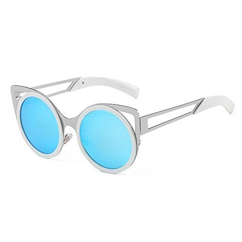 Playa Gafas Caja WX Grande 1 Gafas De xin Beat Circular Personalidad 2 Redonda Cara Viaje Sol Arena Color Moda Street De 6qrT8xw06