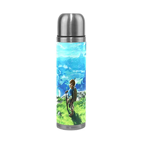 (Vacuum Insulated Stainless Steel Elf Adventure The Legend Of Zelda Water Bottle Sports Coffee Travel Mug Thermos Cup Genuine Leather Cover Double Walled capacity 17 Oz)