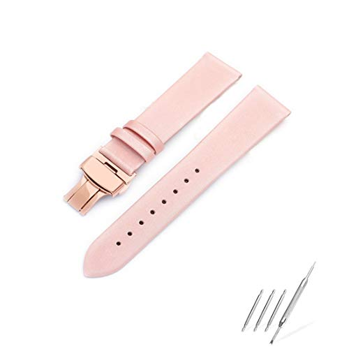 (Luxury Fashion Silk Satin Women Genuine Leather Watch Band for Ladies Interchangeable 10mm Pink Watch Strap Quick Release Deployment Rose Gold Butterfly Buckle with Spring Bar and Spring Bars Bonus)