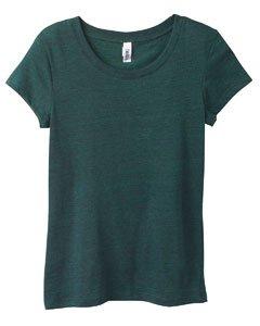Bella Womens Cameron Tri-Blend Crewneck Short Sleeve T-Shirt - Large - EMERALD HEATHER - Fashion Tri Blend T-shirt
