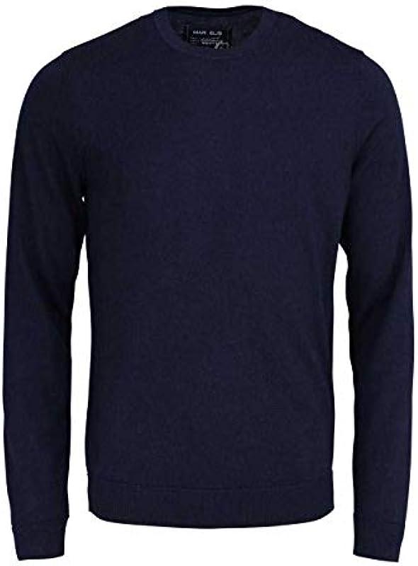Marvelis sweter z długim rękawem okrągły dekolt z wełny Merino niebieski nocą: Odzież