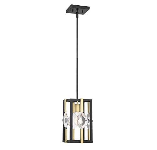 (Savoy House Lowell 1-Light Mini Pendant in Bronze w/Brass Accents)