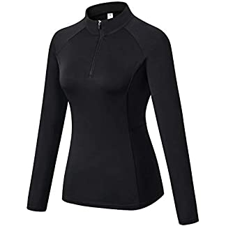 Sillictor 1/4 Zip Running Top Women Thermal Ski Base Layer Breathable High-Wicking Soft 5