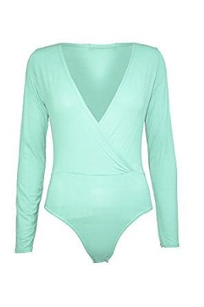 Pure Fashion - Combinaison Léotard Femmes Plongent Unie Manches Longue Body  - XXL, 44,