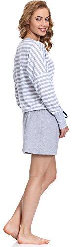 Merry Style Camisón para mujer MS10-102 Gris/Azul Oscuro
