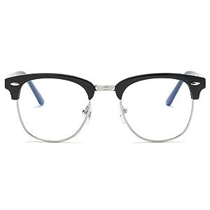 Amomoma Clubmaster Semi Rimless Eyeglasses Mirrored Polarized Sunglasses AM5018 C2 Bright Black Frame/Silver Rim