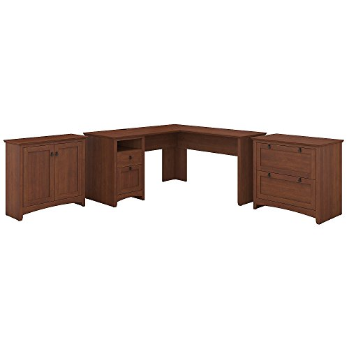 Office Set File Cabinet - Bush Furniture Buena Vista L Shaped Desk with Lateral File and Small Storage Cabinet in Serene Cherry