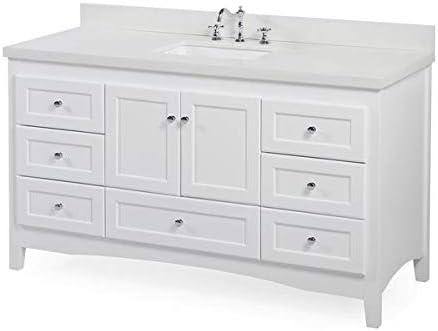 Amazon Com Abbey 60 Inch Single Bathroom Vanity Quartz White