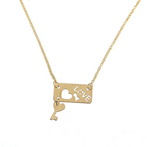 18K Yellow Gold Love open cut Plaque with Hanging Key and Rollo Chain 16 inches Necklace by Amalia