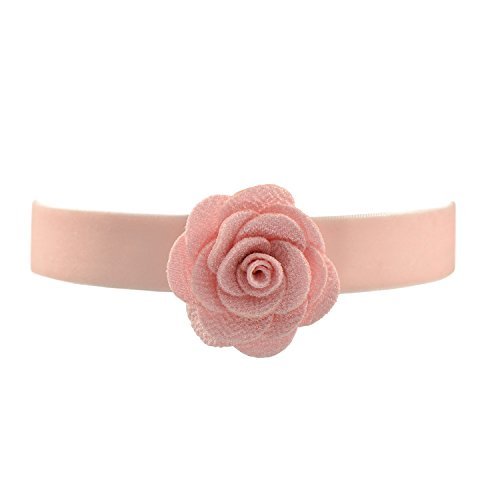 - Pale Pink Velvet Belt Gothic Choker Necklace 12-15 Inches, Rose Flower Shape