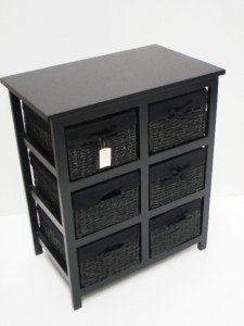 BLACK CHEST OF 6 DRAWER BASKET LIVINGROOM BEDROOM STORAGE UNIT CABINET UNIT :60.5x38x71. Part 57