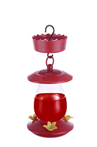 SunnyPoint Hummingbird Feeder Set, Plastic Bird Feeder, 3 Feeding Stations, 10-Ounce Nectar Capacity, Red