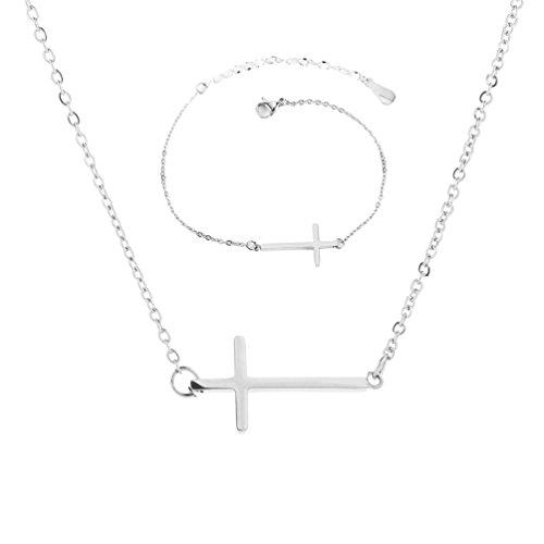 XIAOLI Sideways Cross Necklace Bracelets Set Rose Gold-Tone Silver-Tone (Silver ()