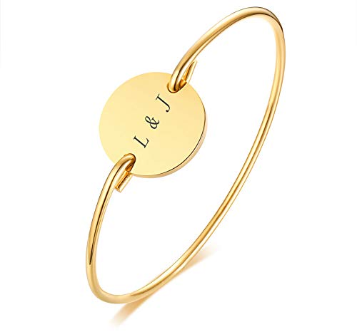 MPRAINBOW Custom Personalized 18K Gold Plated Stainless Steel Cuff Bangle Bracelet ()