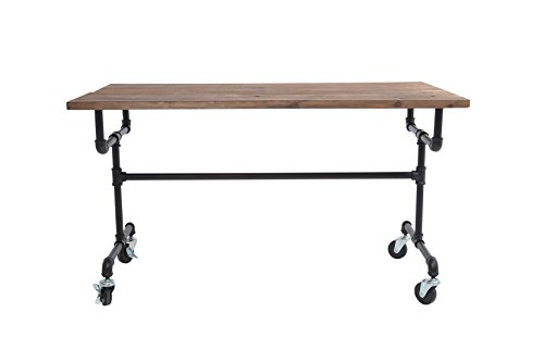 Newtech Display IND-TABLE-S/BLK SM Industrial Table with Wood Top, Black by Newtech Display