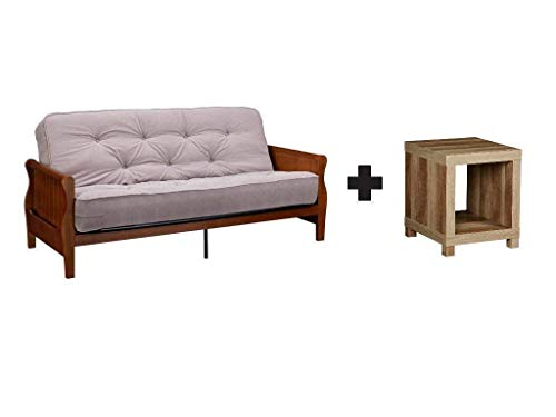 Better Homes Gardens Solid Wood Arm Metal Futon With 8 Soft Twill Coveredcoil Mattress And Cushions In Tan Walnut With Accent Table In Weathered Bundle Set