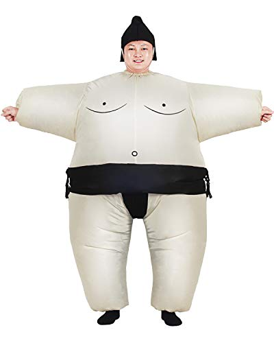 Cheap Sumo Wrestling Suits (Inflatable Adult Sumo Wrestler Suits Wrestling Fancy Dress Halloween Costume One Size Fits Most (Black)