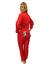 """Red Union Suit Onesie Pajamas with Funny Butt Flap """"Wasn't Me"""" SKUNK"""