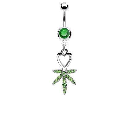- Heart and Gem Pave Pot Leaf 14g Navel Dangle Belly Ring