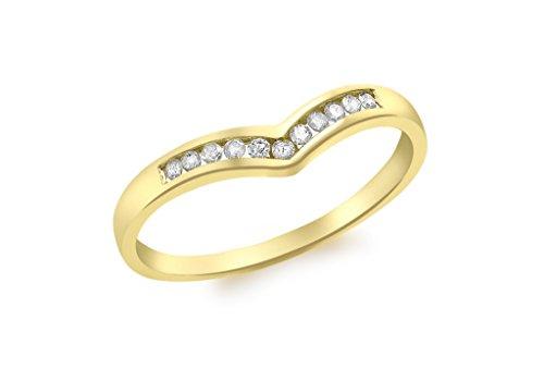 Bague en or jaune 9carats Diamant Mini canal set