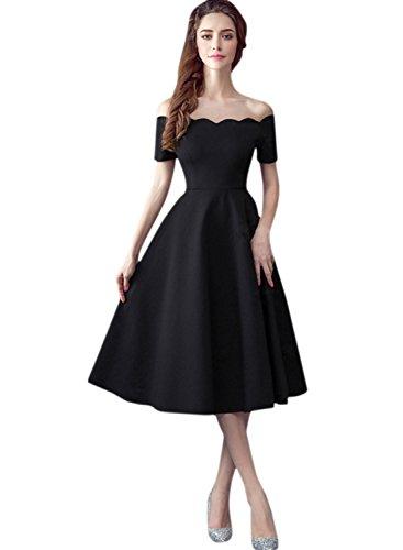 Azbro Mujer Vestido Estilo Vintage A-línea Fuera de Hombro Festoneado Negro